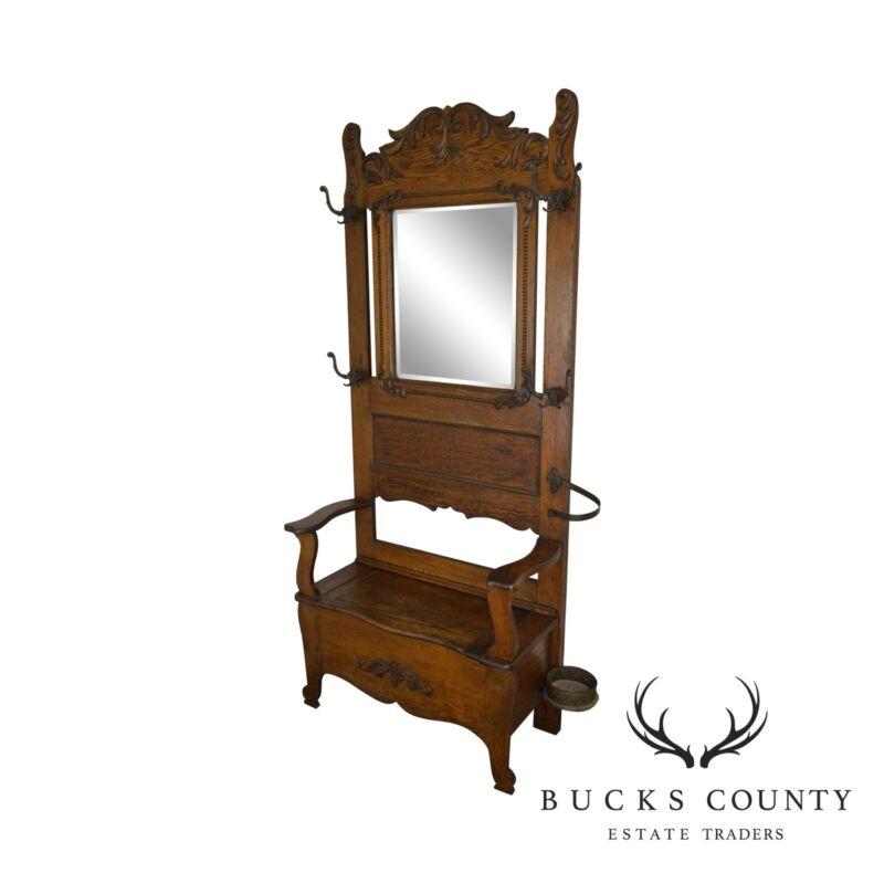 Victorian Oak Antique Mirror Back Hall Tree