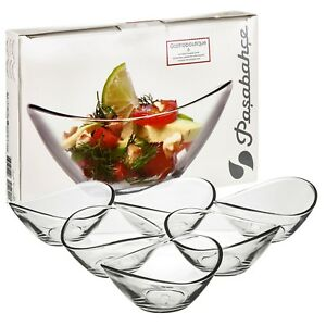 6 x Pasabahce Small Clear Glass Curved Dessert Bowls Ice Cream Fruit Sorbet Dish