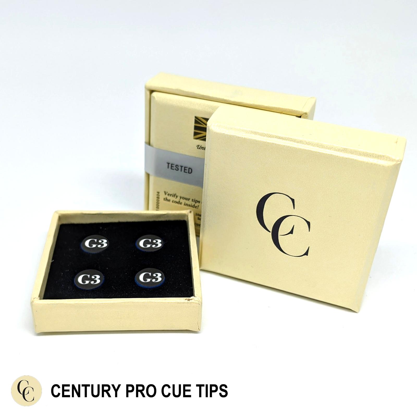 Century Pro Cue Tips (10mm) - G3 (M/H Grade) - 1 Box = 4 Tips - SALE!!
