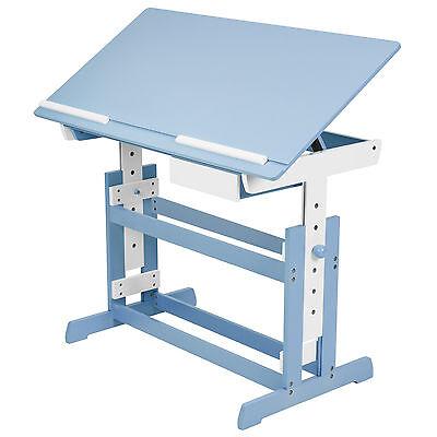 Kinderschreibtisch höhenverstellbar neigbar Jugendschreibtisch Schreibtisch blau