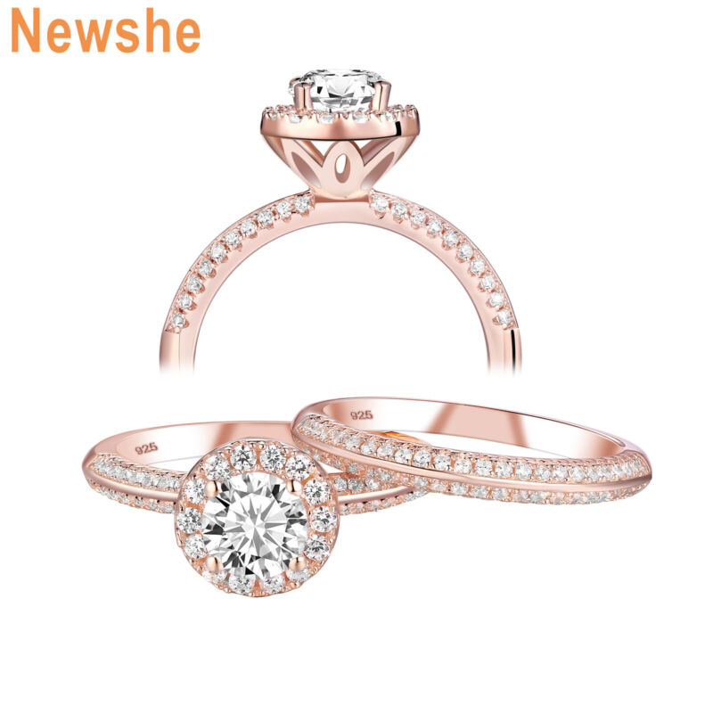 Newshe Engagement Wedding Ring Set Rose Gold 925 Sterling Silver Round Cz 5-10