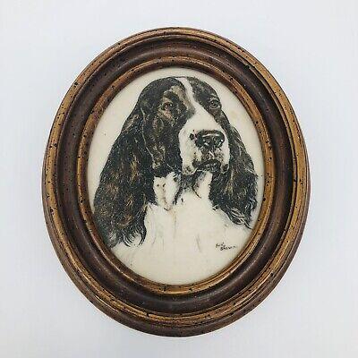 """Vtg Earl Sherman Springer Spaniel Dog Framed Marble Engraved Oval 6"""""""