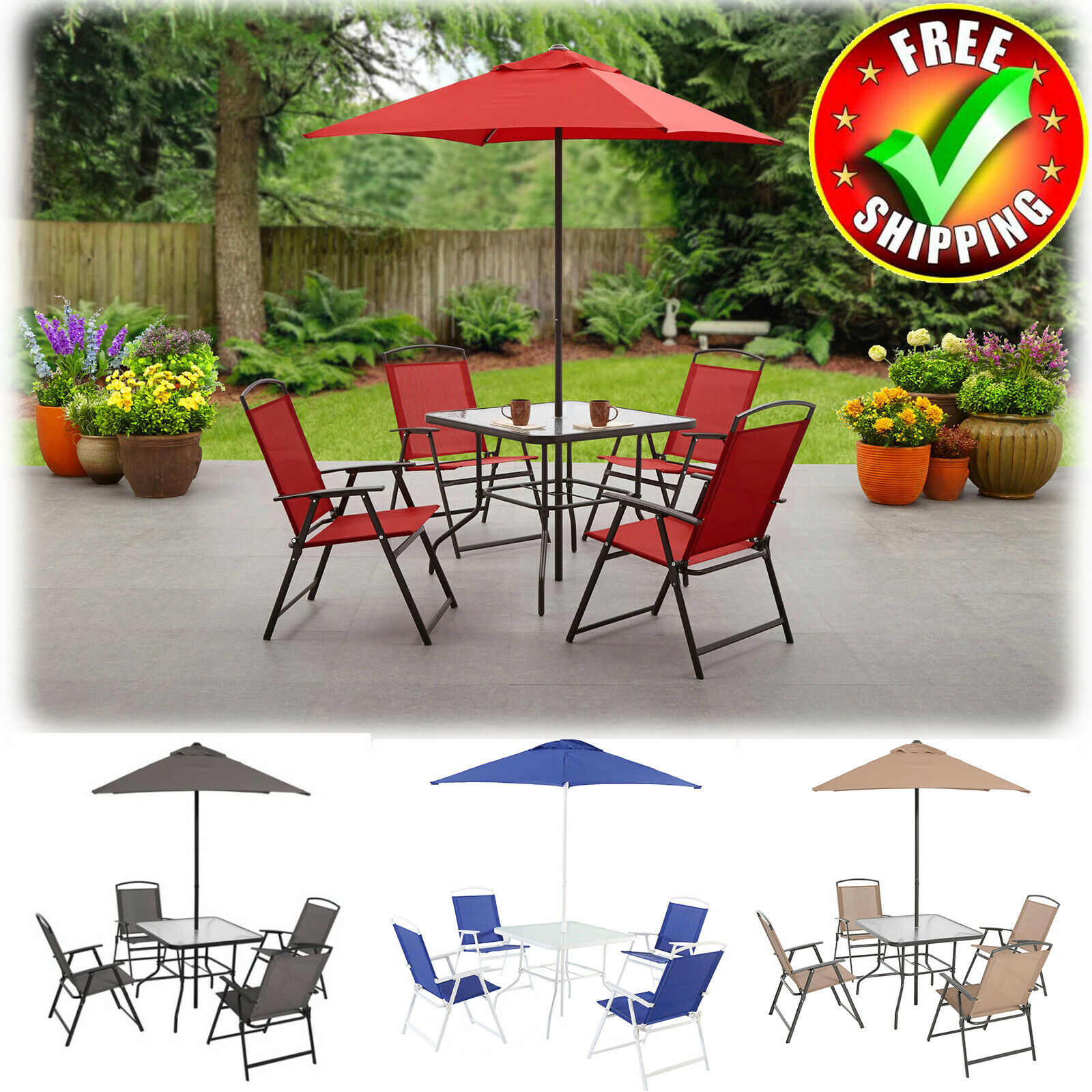 Garden Furniture - Patio Table And Chairs Umbrella Dining Set Outdoor Lawn Garden Folding Furniture