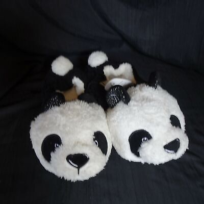 Panda Bear Plush House Slippers Shoe Women Size 5-6 Indoor Faux Fur PomPom Tail Panda Bear Slippers