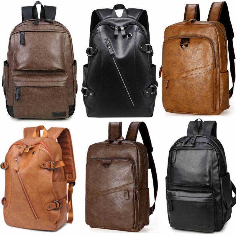 Men Leather Backpack Large Laptop Shoulder School Book Bag T