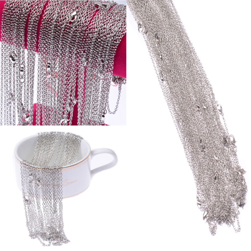 Wholesale Lots 100 Pieces Silver Pld Making DIY Hard Link Chain Necklace 22