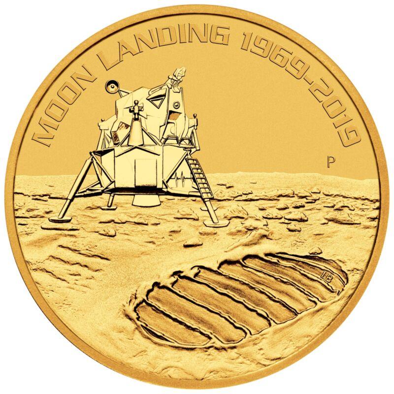 2019 - 1oz Gold Moon Landing 50th Anniversary BU - Low Mintage!