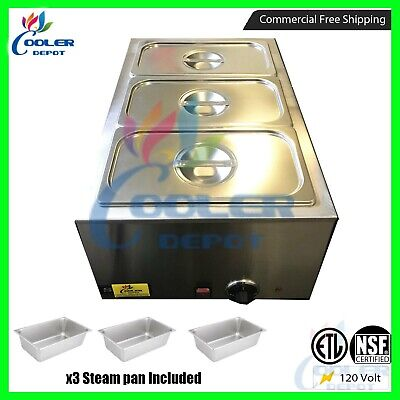 3-pan Steamer Bain-marie Buffet Countertop Food Warmer Steam Table Cooler Depot
