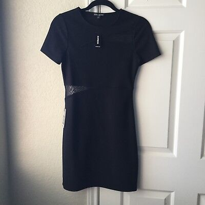 Express NWT Black Cut Out Mesh Cap Sleeve Dress Sz 4-SOLD OUT ONLINE!