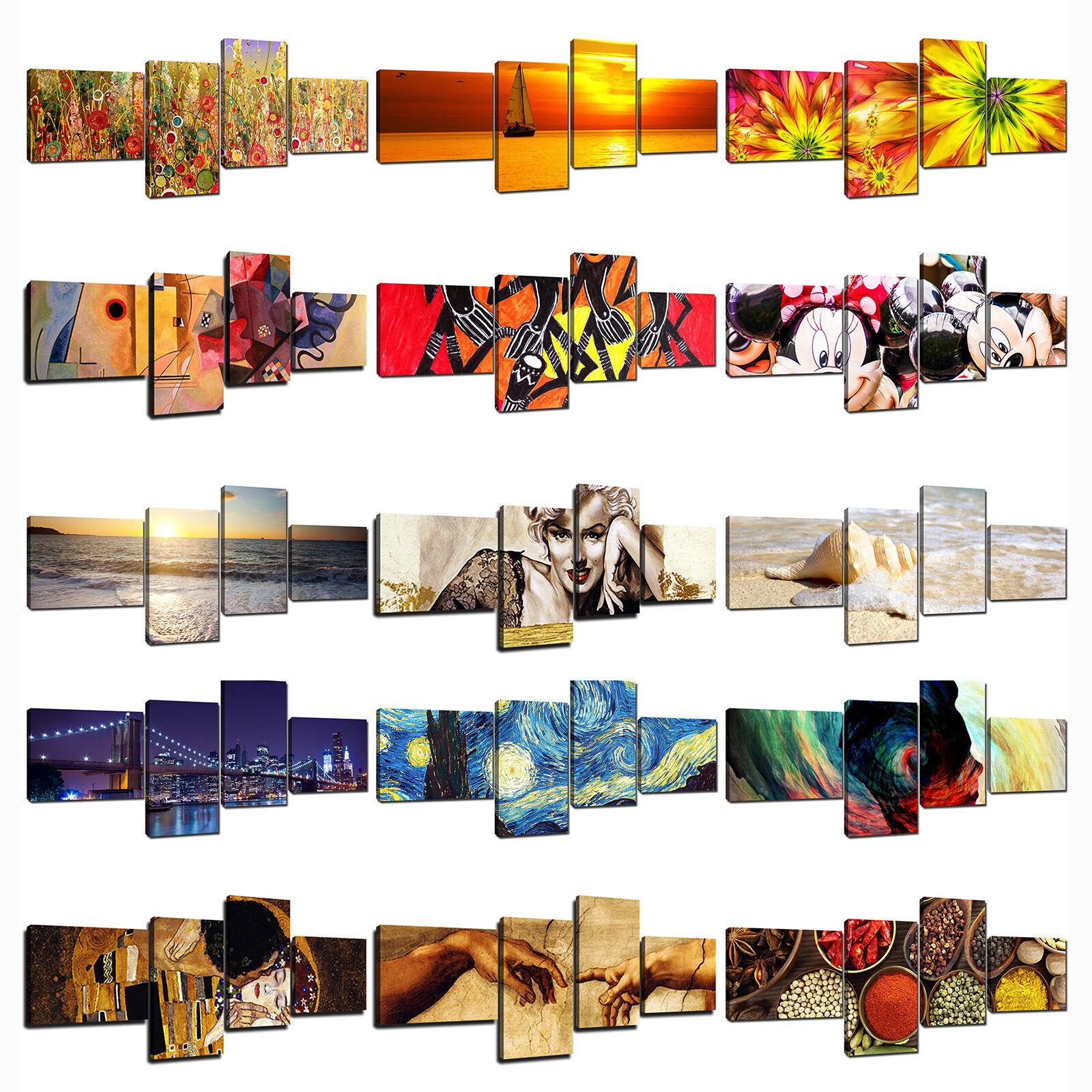 Quadro Moderno Cm 180x75 Stampa su Tela Canvas 4 Pezzi Quadri Moderni Astratti