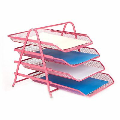 Mind Reader Desk Organizer With 4 Sliding Trays For Documents Files Paper Pink