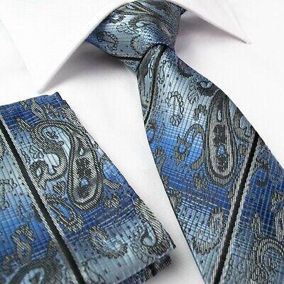 Mens Tie Blue Silver Grey Paisley Jacquard Woven Ties Necktie Wedding Silk p-r11 Woven 3 Mens Tie