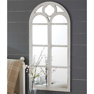 Wood Window Wall Mirror Distressed Antique White Finish Arched New Decor  ()