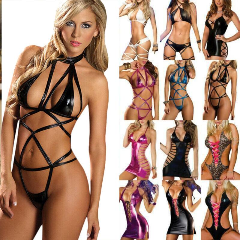 Womens PU Leather Babydoll Bodysuit Underwear Lingerie G-string Thongs Sleepwear Clothing, Shoes & Accessories