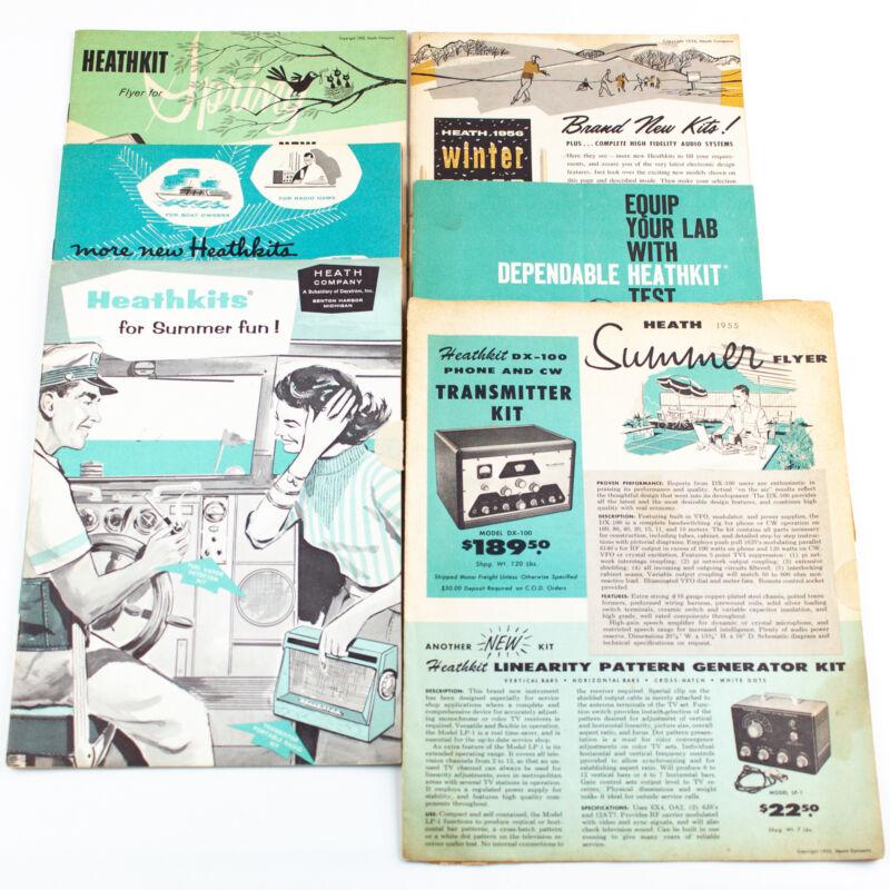 Vintage Heath Heathkit Catalog Flyers 1955-59 Lot Of 6