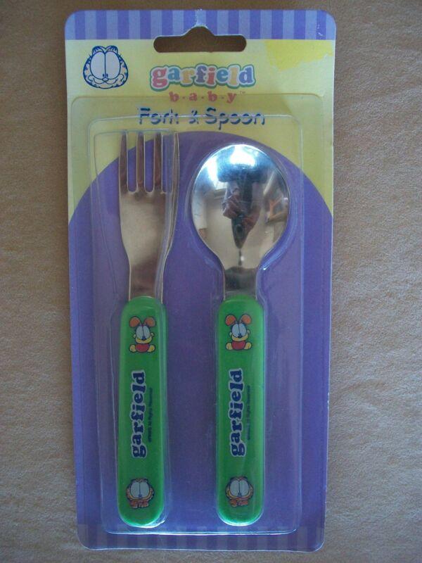 """Garfield Baby """"Garfield & Odie"""" Baby Fork & Spoon Utensil Set, NEW IN PACKAGE!"""