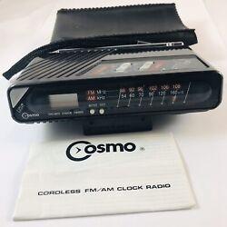 VTG Cosmo AM/FM Portable Retro Alarm Clock Radio W/ Strap & Case Model CR-2508