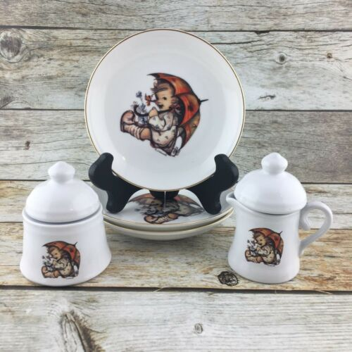 M J HUMMEL Umbrella Girl Porcelain Plates Small Sugar Creamer Germany Set of 7