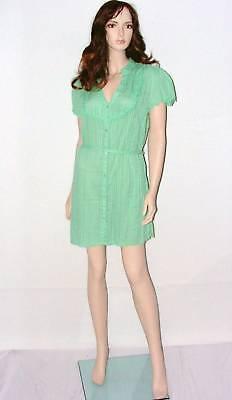 LA VIE Green Unusual Evening Dress/ Long Top Size 14 Ladies Party Cotton Shirt
