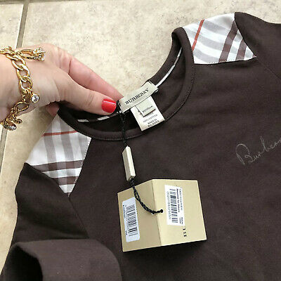 5 Years ( 4Y +) Authentic Burberry Girls Top Patch Shoulder Brown T-shirt Blouse