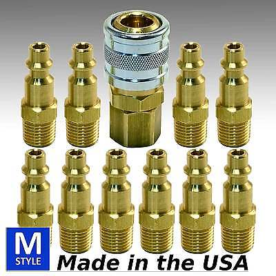 11pc Heavy Duty Quick Coupler Set Air Hose Connector Fittings 14 Npt Tools Plug