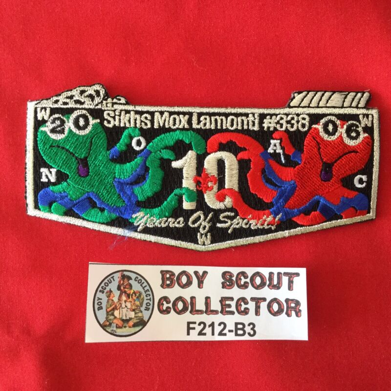 Boy Scout OA Sikhis Mox Lamonti Lodge 338 2006 10 Order Of The Arrow Flap Patch