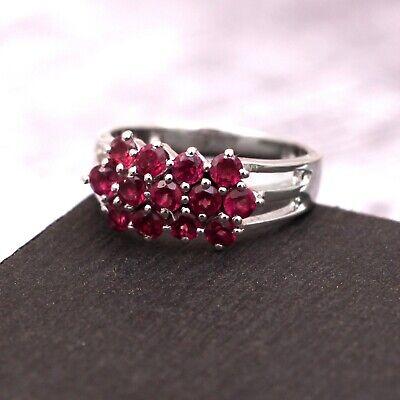Natural Garnet Cluster Band Ring 925 Sterling Silver Stacking Vintage For Women