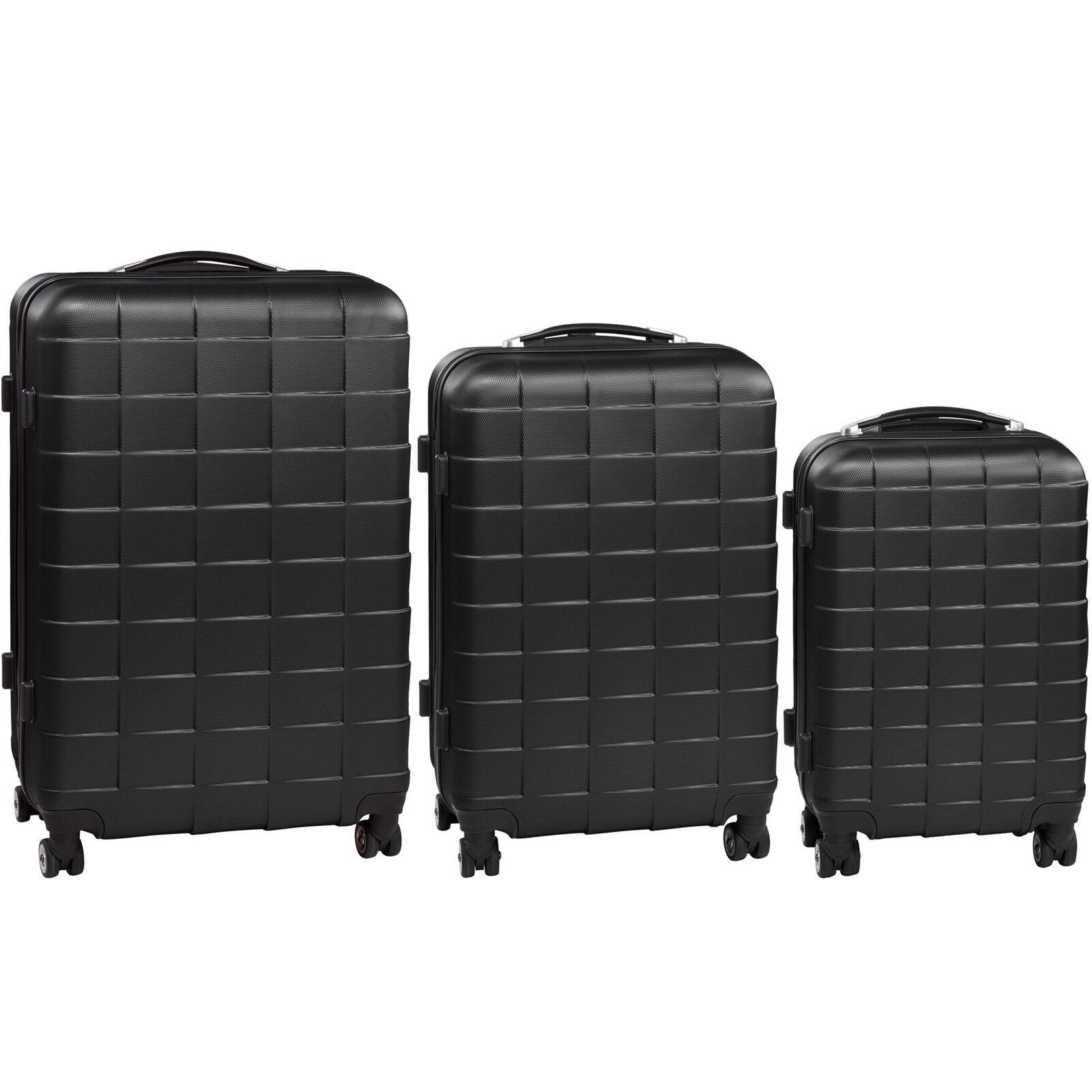 Set de 3 valises de voyage coque ABS léger rigide bagages valise trolley noir 6
