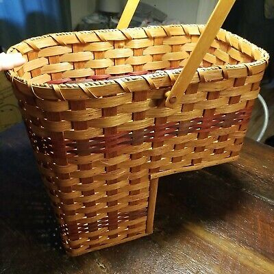 Wicker Stair Step Basket - Premium Quality - Wood Bottom - Swivel Handle