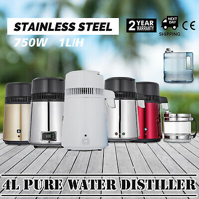 4L Water Distiller Water Purifier Stainless Steel Distilled Purified Home