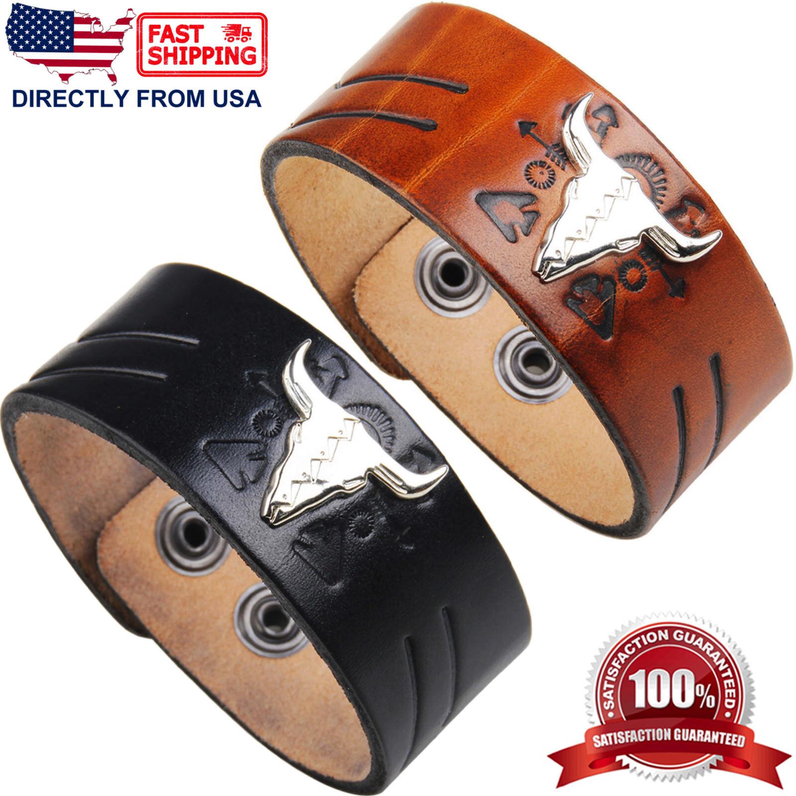 Men's Punk Rock Bull Genuine Leather Wide Wristband Bracelet Bracelets