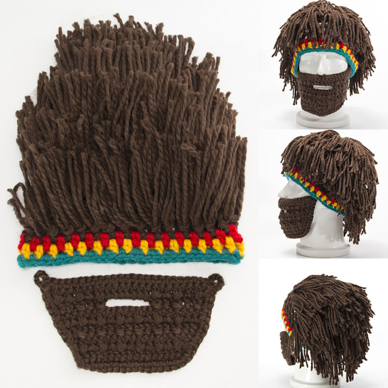 Men's Crochet Knitted Wig Wool Beard Hats Winter Beanie Must