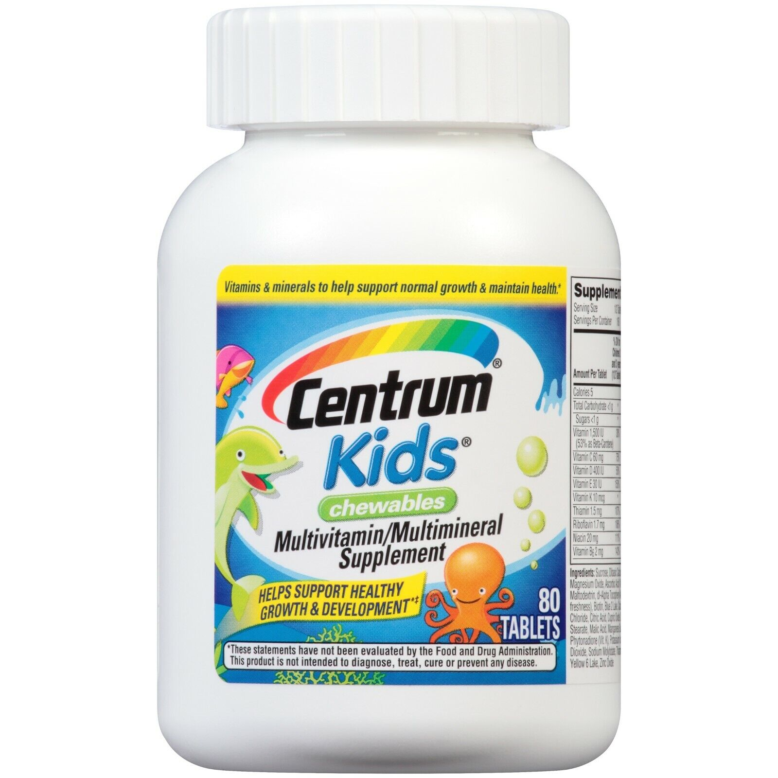 Centrum Kids Multivitamin Chewables, Cherry, Orange, & Fruit Punch Flavor 80 CT+