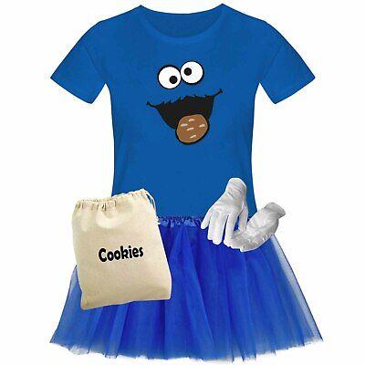 T-Shirt Krümelmonster mit Keks Kostüm Set + Tütü Tüllrock Karneval Damen XS-3XL