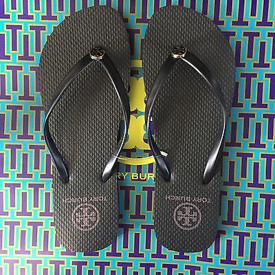 L@@K!  NWT Size 8 Tory Burch Thin Strap Flip Flops Black Flats Gift Reva