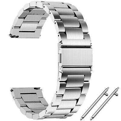 14   16   18   20   22   24 mm Edelstahl Glieder-Uhrenarmband Silbern Metall NEU