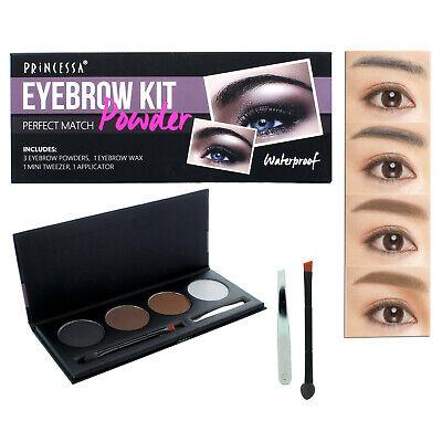 Perfect Match Brow Kit 3 Eyebrow Powders Wax Applicator Brush Makeup Waterproof