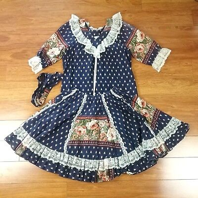 Pitchfork Brand Square Dance Costume Outfit Skirt Blouse Navy Blue Lace