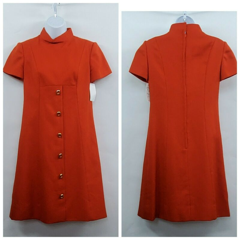 Vintage Orange Mod 60s Wool Knit Dress Size 8