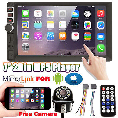 7 Inch Double Din Car Stereo With Backup Camera Audio MP5 Mirror For Andriod IOS