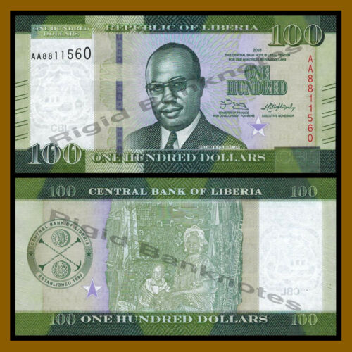 Liberia 100 Dollars, 2016 P-35 New Design Unc