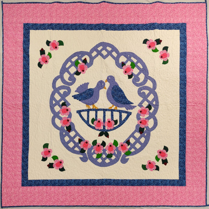 Hand Applique Love Birds in the Garden FINISHED QUILT Very Nice Queen Size