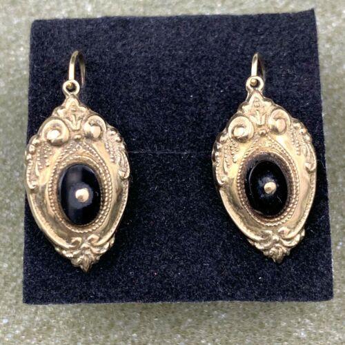 8k Yellow Gold Onyx Victorian Earrings