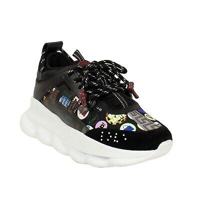 NIB VERSACE Black 'Chain Reaction' Logo Print Sneakers Shoes 9.5/42.5