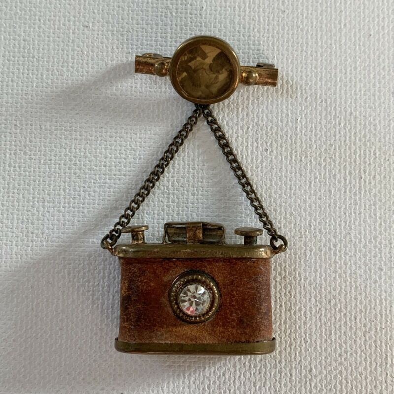 Antique Victorian Photograph Mourning Jewelry Rare Camera Brooch Pin Little Boy