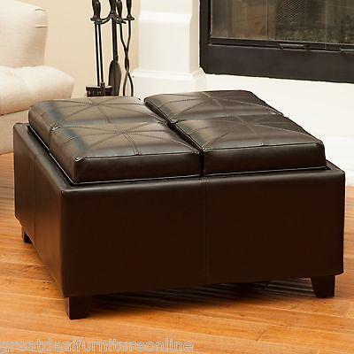 Contemporary Espresso Quad Tray Top Leather Storage Ottoman