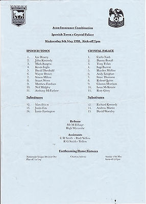 IPSWICH TOWN V CRYSTAL PALACE RESERVES COMBINATION LGE 6/5/98