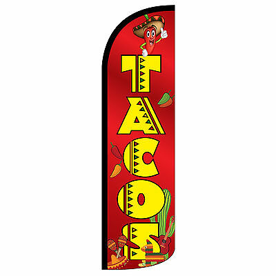 Tacos Red Extra Wide Windless Swooper Flag