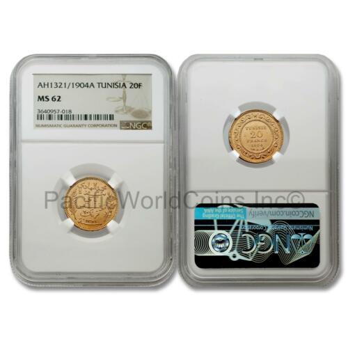 Tunisia 1904A (AH1322) 20 Francs Gold NGC MS62 SKU#7754 (NGC wrong year label)