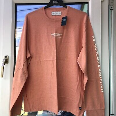 Abercrombie and Fitch Light Coral Long Sleeved Logo Tee XXL BNWT